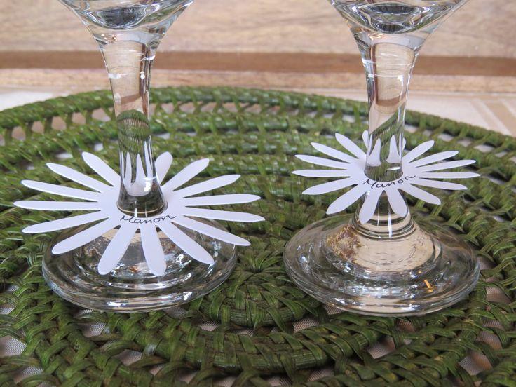 Marqueurs à verre de vin, étiquettes à verre de vin, décoration table mariage «Marguerite blanche» (25) de la boutique Lamainalacarte sur Etsy