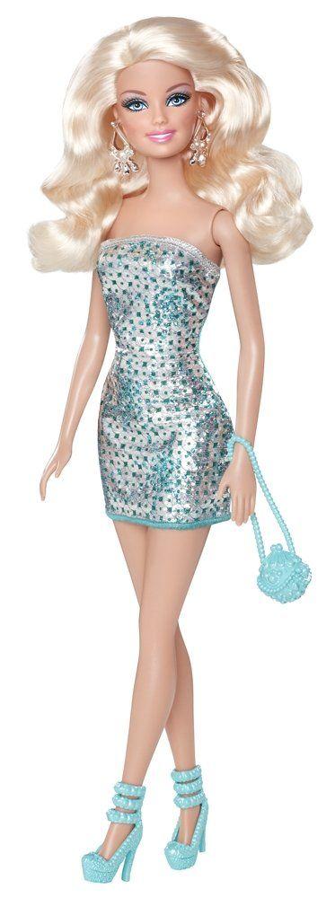 Barbie T7580 - Muñeca Barbie con mini vestidvuSHo brillante, col.ANDK  verde