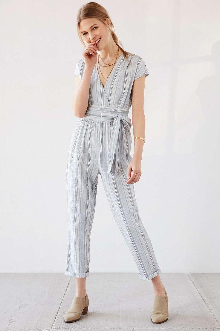 Ecote Yarn-Dye Stripe Wrap Jumpsuit - Urban Outfitters
