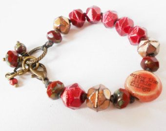 Items similar to red beaded stacking bracelet, boho chic, crystal beads, live love laugh, yoga jewelry on Etsy
