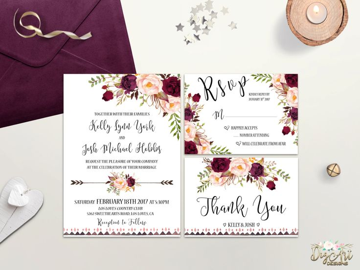 REPIN NOW to check it later! Boho Wedding Invitation Printable Floral Wedding Invite Burgundy Blush Wedding Invitation Suite Rustic Wedding Invite Bohemian Wedding DIY by DigartDesigns on Etsy