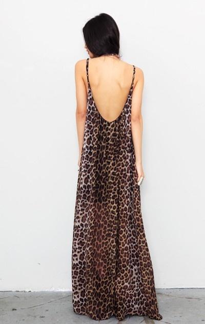 long & low back summer dress with cheetah print