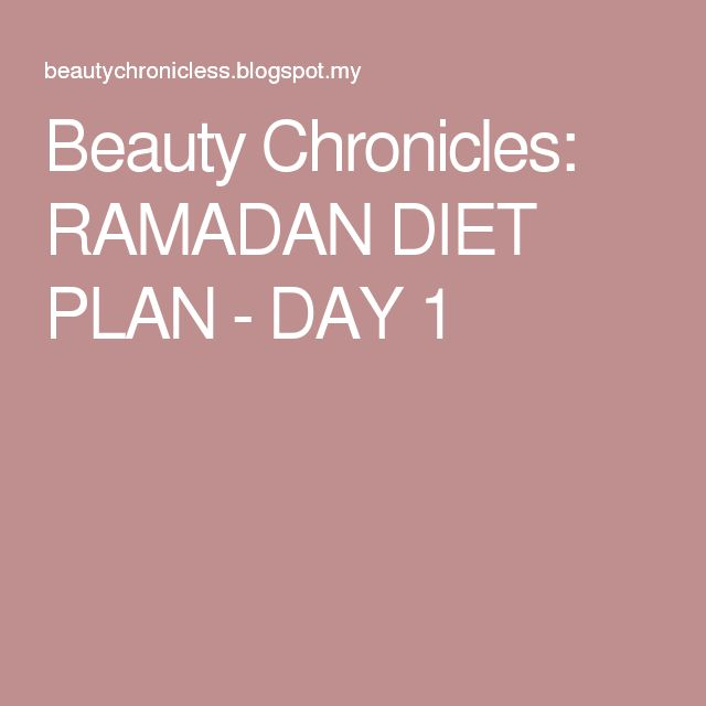 Beauty Chronicles: RAMADAN DIET PLAN - DAY 1