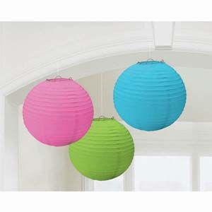 A24055/90 - Lanterns Multi Coloured Round - Pack of 3 Lanterns Multi Coloured Round (24cm Diameter) Paper - Pack of 3  Please note: approx. 14 day delivery