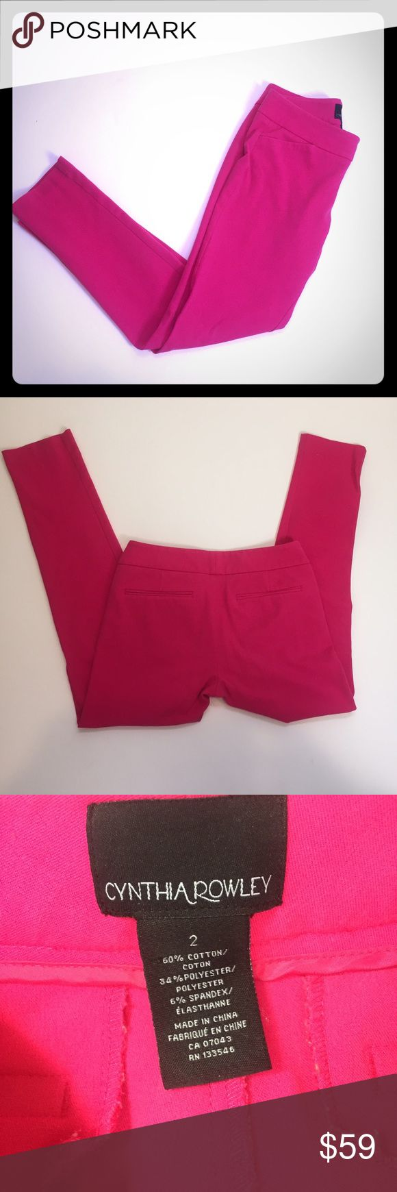 Hot pink Cynthia Rowley skinny dress pants size 2 Gorgeous Hot pink Cynthia Rowley skinny dress pants size 2. Excellent used condition, no flaws. No trades please. Cynthia Rowley Pants Skinny