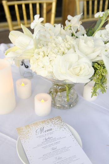 Enchanted Florist Las Vegas Wedding Florist- white centerpiece, roses, hydrangea, white wedding