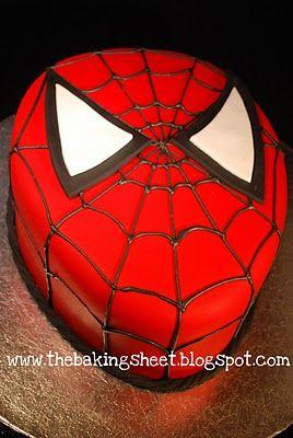 Spiderman Cake!  Red Cake with Buttercream Filling  Fondant Finish & Decoration  Royal Icing Web
