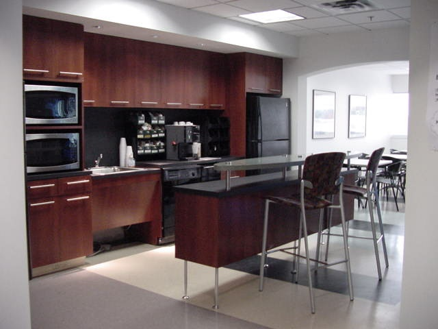 Large kitchen with coffee bar commercial office break for Coffee bar ideas for office