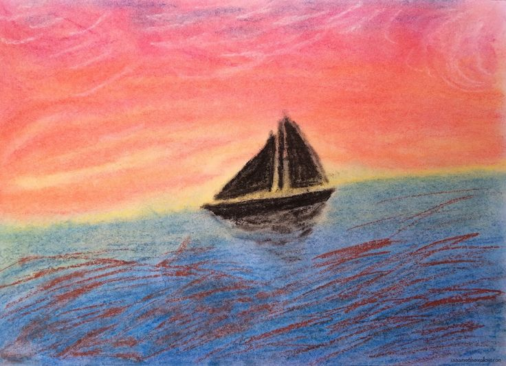 Boat on the sea, pastel drawing