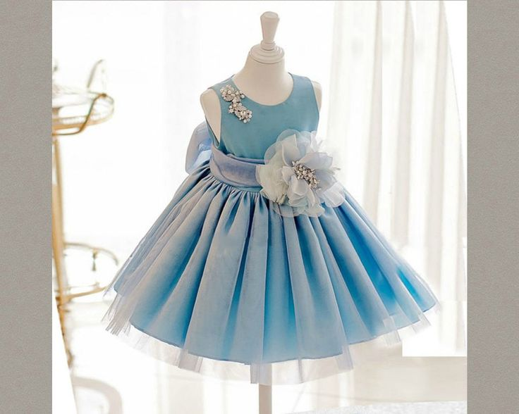 Blue Flower Girl dress. This HiGH QUALITY dress is available from 3 month until 12 years old  Material: Polyester fiber, Purified cotton lining, tulle mesh, satin. Free shipping.