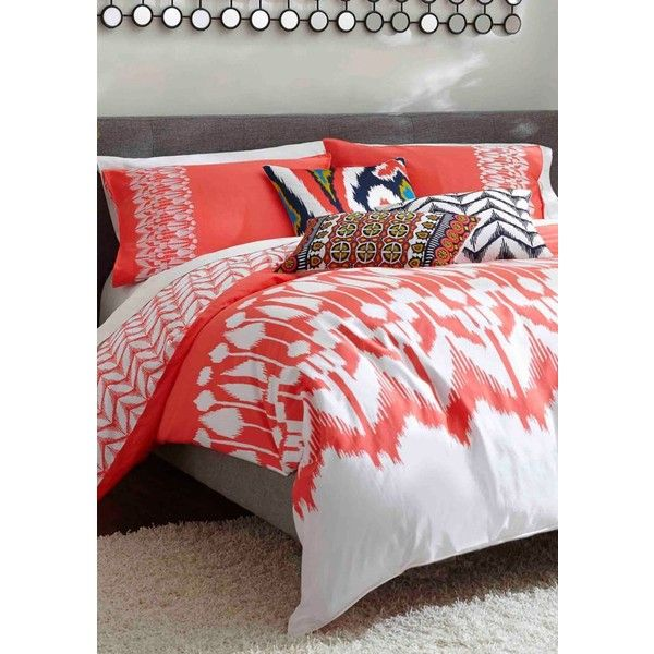 Trina Turk Coral Hollyhock Ikat King Duvet Mini Set ($144) ❤ liked on Polyvore featuring home, bed & bath, bedding, comforters, coral, king size bedding, twin comforter, contemporary comforters, coral comforter and twin duvet