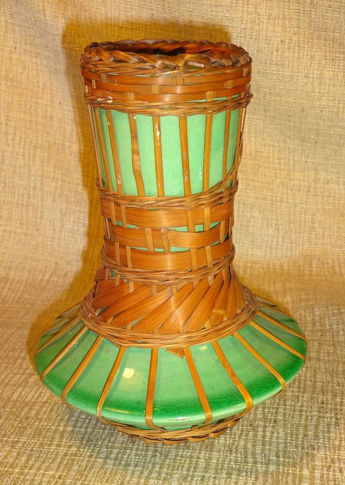 Antique Japanese Awaji Ware Bamboo Wrapped Pottery Ceramic