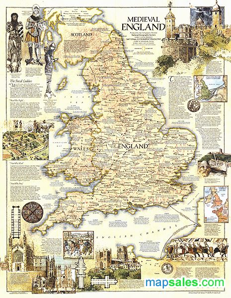 Medieval England 1979 Wall Map by www.mapsales.com/?source=pinterest - The leading source for your Medieval England 1979 Wall Map!