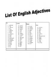 English teaching worksheets: Adjectives