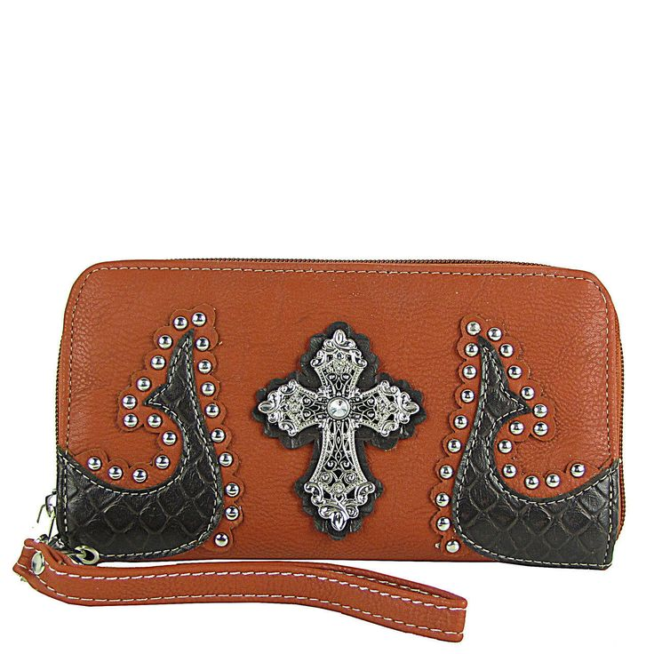 Red Western Studded Tooled Cross Look Zipper Wallet Country Western Fashion