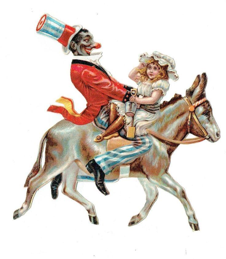 Un chromo - Découpis Jeune fille et clown noir sur un âne Cirque  Sans manque fr.picclick.com