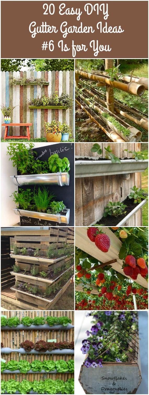 20 Easy DIY Gutter Garden Ideas via @1001Gardens
