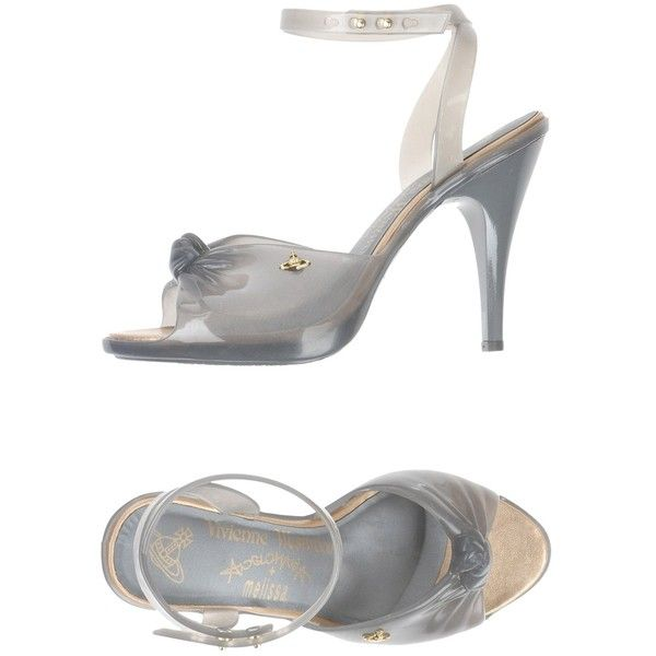 Vivienne Westwood Anglomania + Melissa Sandals (185 CAD) ❤ liked on Polyvore featuring shoes, sandals, grey, grey shoes, grey sandals, heels stilettos, rubber shoes and round toe sandals