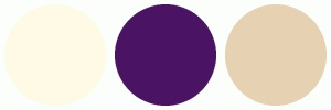 Proposed Color Palette for Wedding, Ivory, Plum and Champagne - ColorCombos.com color schemes, palettes, combinations with hex colors FFFAE6, 4B1363,E6D1B3