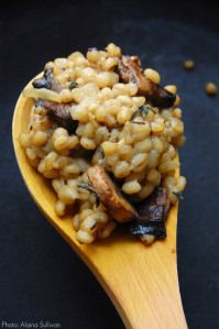 Barley Risotto Recipe with Mushrooms, Manchego and Thyme