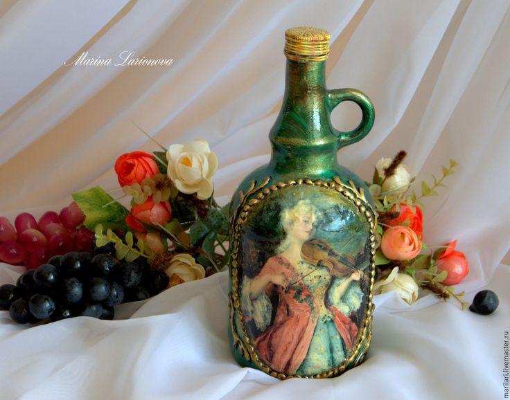 Купить Интерьерная бутылка - комбинированный, декупаж бутылок, свадебный декор, декор бутылок на свадьбу