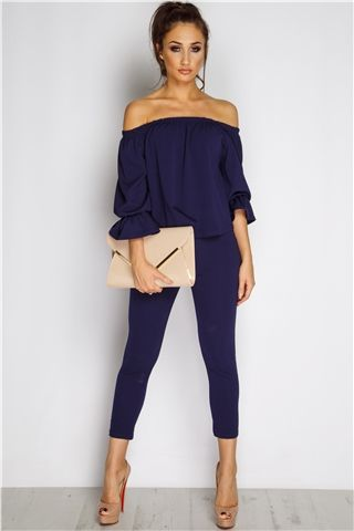 Megan McKenna Navy Frill Off The Shoulder Set at misspap.co.uk M/,L £25