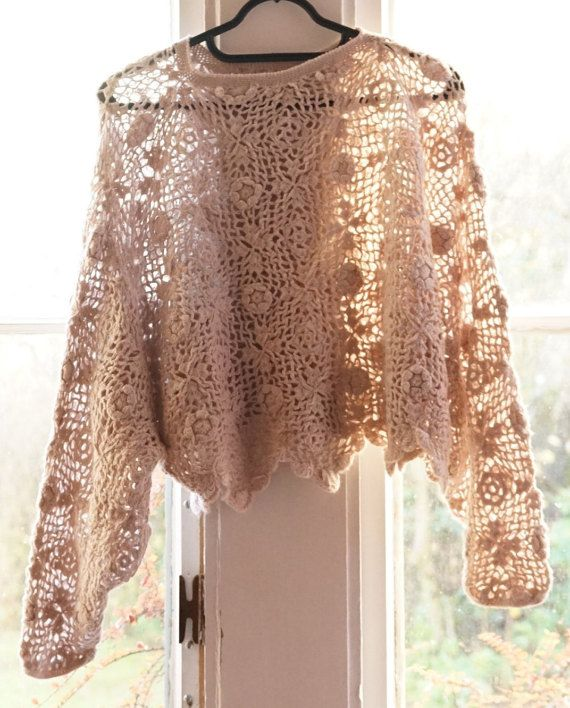70s Beige/Cream Crochet/Kintted Floral Butterfly Sleeve Top/Jumper/Smock/ Sweater/Cover Up Hippie/Boho/Festival