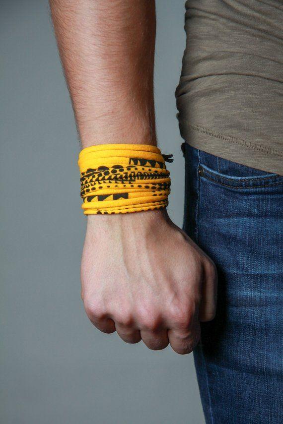 Hippie Yellow and Black Mens Bracelet Mens Wrap Bracelet Festival Burning Men Bracelet Festival Brac