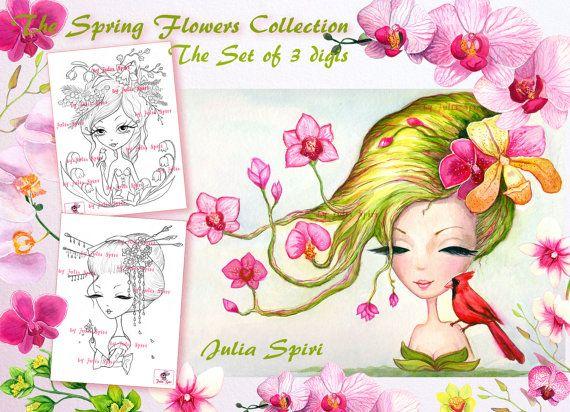 Set of 3 Digital Stamps Crafting Digi stamp Orchids by JuliaSpiri