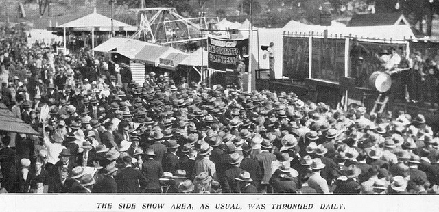 Another busy day in sideshow alley, Brisbane Exhibition Grounds, 1933 by State Library of Queensland, Australia, via Flickr