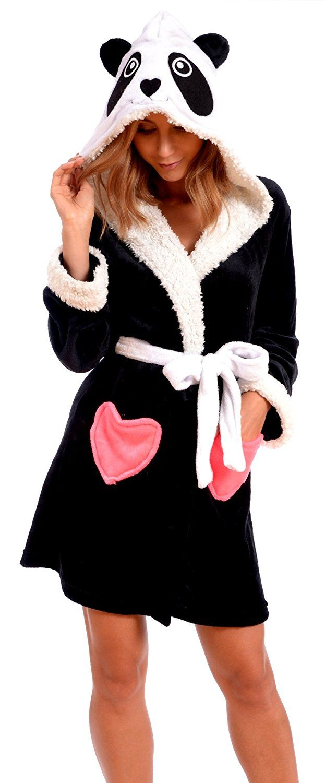 Body Candy Women's Plush Sherpa Micro Fleece Animal Ear Hooded Bathrobe at Amazon Women's Clothing store:
