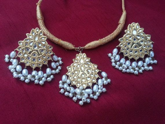 Indian White Kundan and Pearl Choker Necklace and by KapraBazaar, $70.00