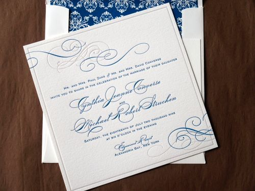 Cyd + Michaelu0027s Classic Elegant Wedding Invitations