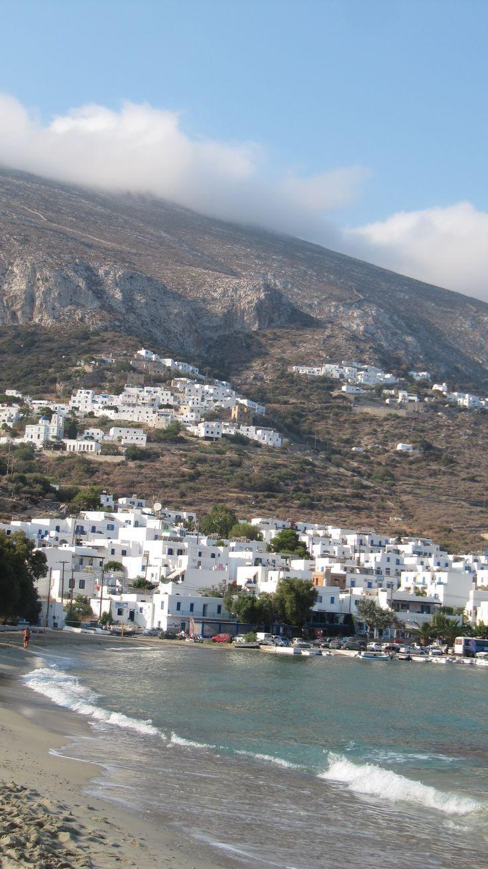 Beautiful view from Aigiali beach at Amorgos island