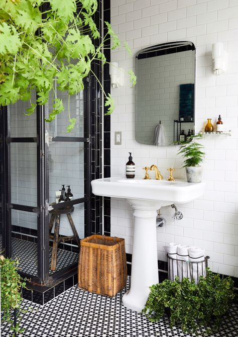 Gravity Home Black And White Bathroom With Plants In A Designer S Eclectic Brooklyn Brownstone Modern Farmhouse Bathroom Bathroom Design Bathroom Decor White black bathroom decorating ideas