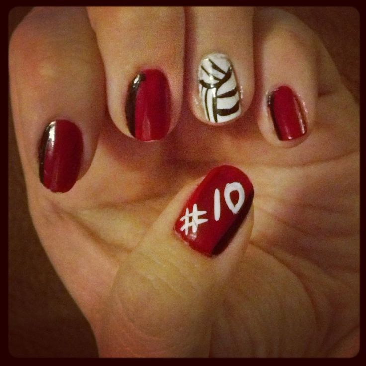 Volleyball nails - So doing this for every game my girls play in every sport! I love my kiddos & proud to show it!