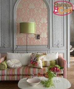 tricia guild, damask, sofa, living room, pink, apple green