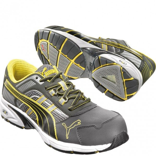 642565 Puma Men's Pace Low Safety Shoes - Grey/Yellow www.bootbay.com