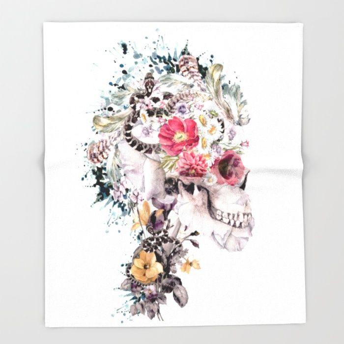 Momento Mori X Throw Blanket #skull #society6 #collage #abstract #snake #animals #digitalart