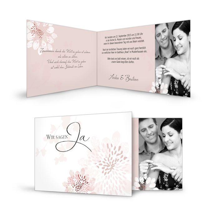 Zartrosa und pistaziengrün erhalten Sie dieses blumige Kartendesign. Verzaubern Sie Ihre Gäste mit diesem blumig, verspielten Kartendesign