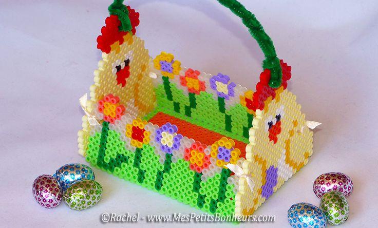 panier paques modele perles hama poule et fleurs