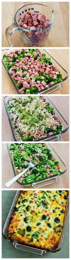 Broccoli, Ham, and Cheese Baked with Eggs ~ this was absolutely amazing. My husband has requested I make this at least once a week. It is definitely something you can eat breakfast, lunch, and/or dinner!