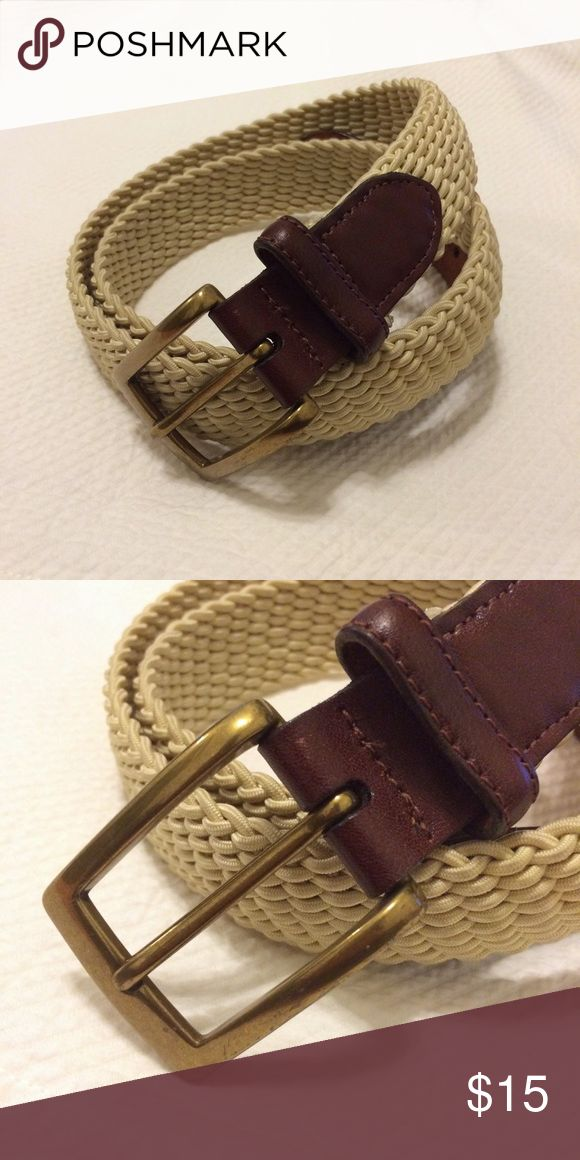 Cole Haan Woven Fabric and Leather Belt Light tan / off white woven belt with leather ends and gold hardware. Barely worn. Cole Haan Accessories Belts