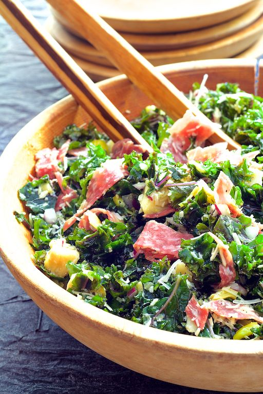 Pull this salad together with what you probably already have!  Find Massaged Kale Antipasto Salad and other simply great recipes at From a Chef's Kitchen