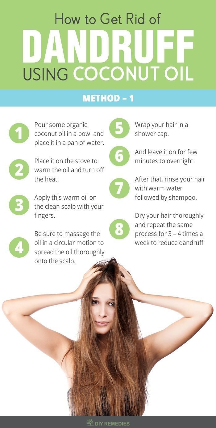 How to Get Rid of Dandruff using Coconut Oil Coconut oil alone is very effective in treating many scalp and hair problems that include dandruff, dry scalp and itchy scalp.