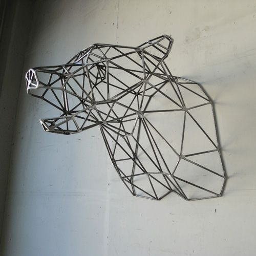 geometric bear head | Geometric | Pinterest | Wall mount ...
