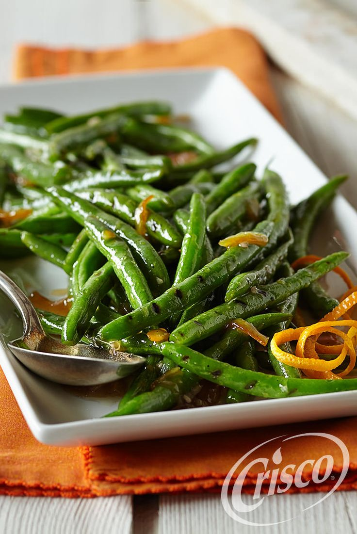 Balsamic vinegar and orange marmalade make a tangy-sweet glazing for this grilled green bean side dish.  #CreativeClassics #Crisco