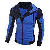 Amazon Angebote Herren Jacke, Kavitoz Mode Schlank Winterjacke Übergangsjacke Coat Outwear Super gemütlich Sweatshirt (L, Blau):…%#mode%