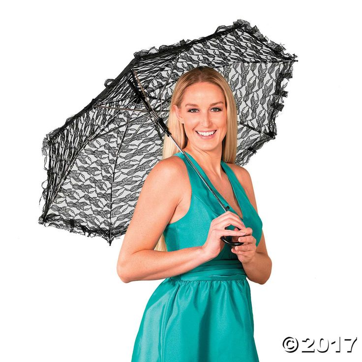 This elegant black lace parasol is a wonderful wedding or formal party decoration! It's a pretty accessory for a vintage costume party, or stock up and ...