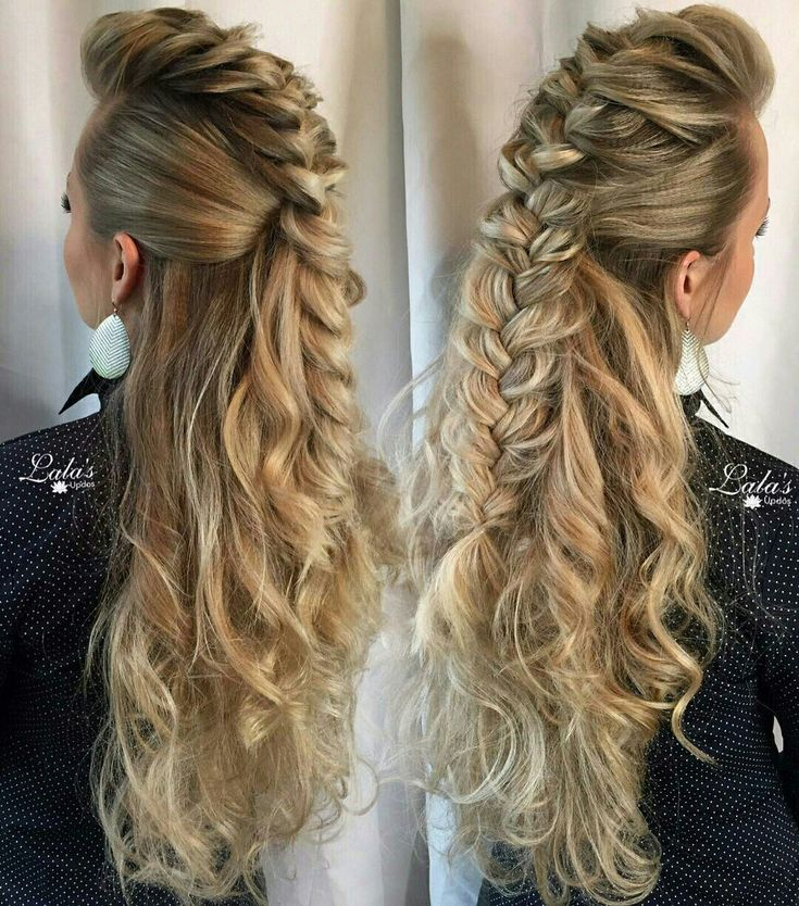 Mohawk braid half updo